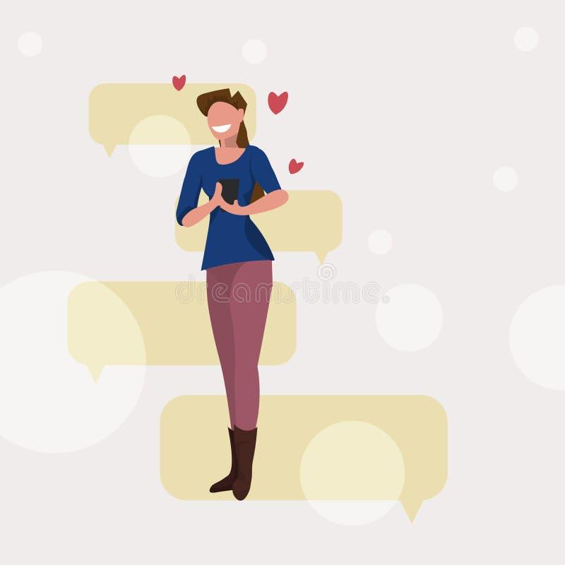 Mulher que usa da menina feliz do conceito do dia de Valentim de uma comunicação da bolha do bate-papo do telefone celular a mens ilustração do vetor