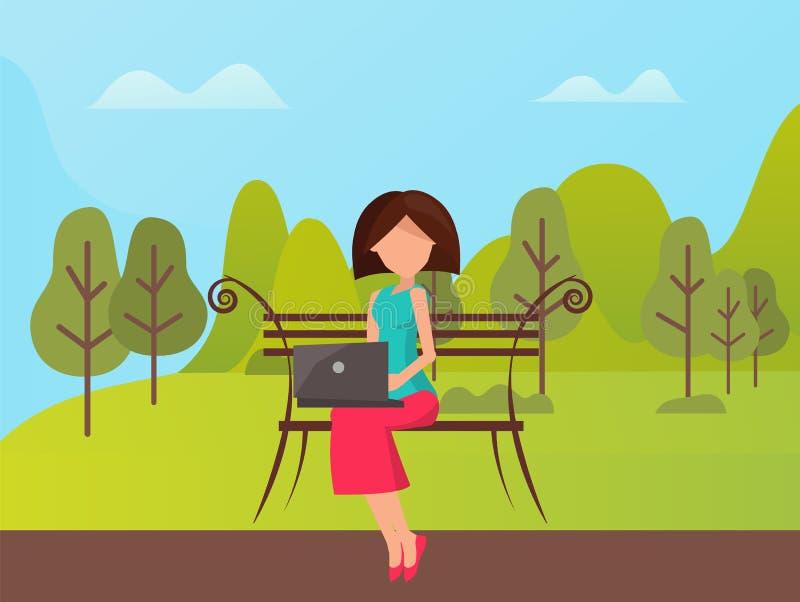 Mulher que usa o assento exterior do portátil no vetor do banco ilustração royalty free