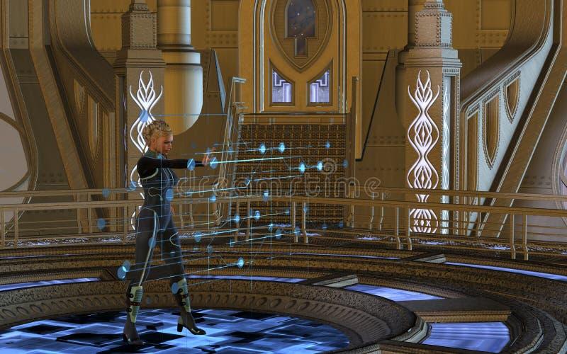 Mulher que usa o holograma imagem de stock royalty free
