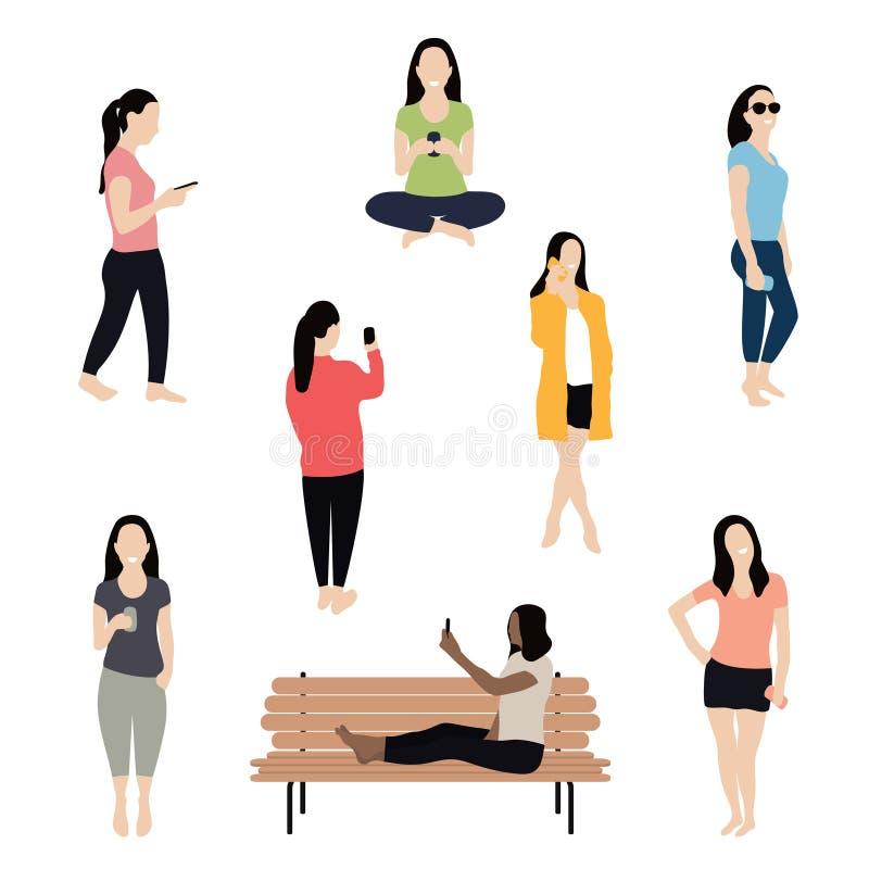 Mulher que usa o smartphone, falando, texting e tomando o selfie Multidão de mulheres elegantes ilustração stock