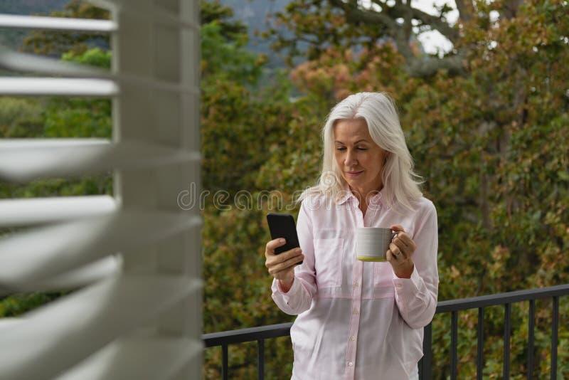 Mulher que usa o telefone celular ao guardar a caneca de café no balcão imagens de stock royalty free