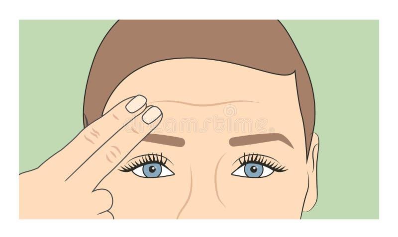 Mulher que usa os dedos para mostrar o início dos enrugamentos e do envelhecimento ilustração do vetor