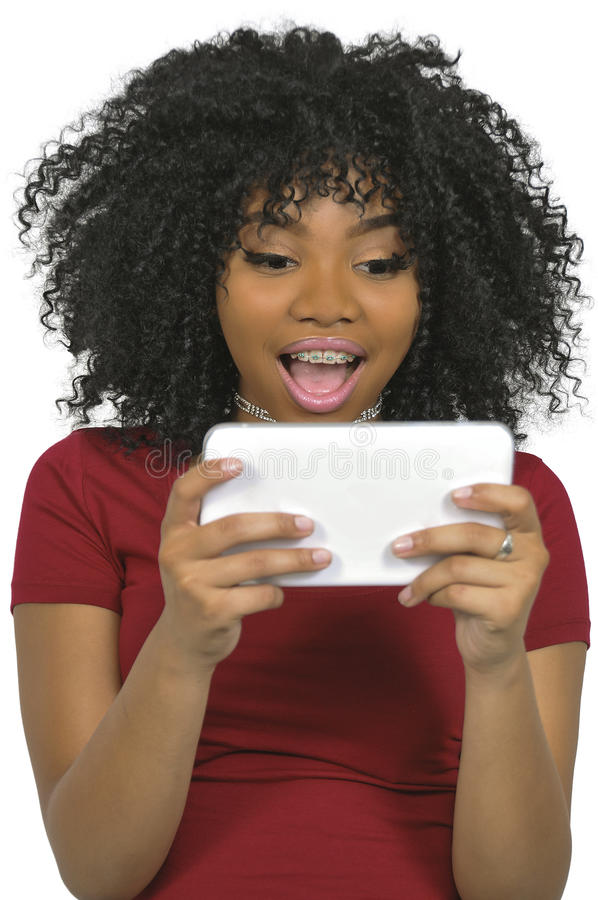 Mulher que usa a tabuleta foto de stock royalty free