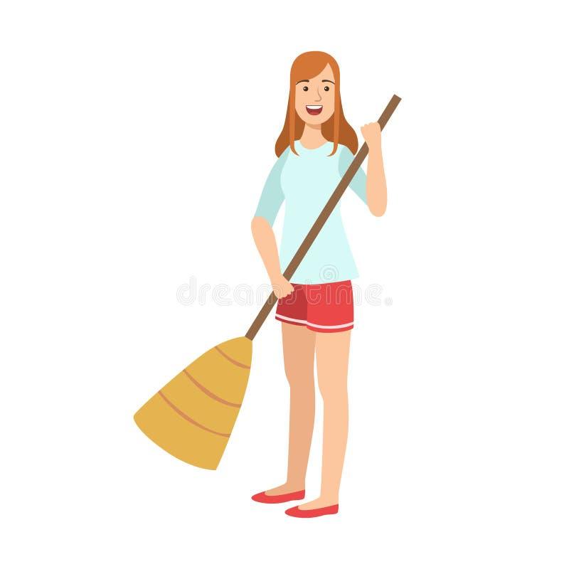 Mulher que varre o assoalho com vassoura, limpar adulto dos caráteres dos desenhos animados e Tiding ilustração do vetor