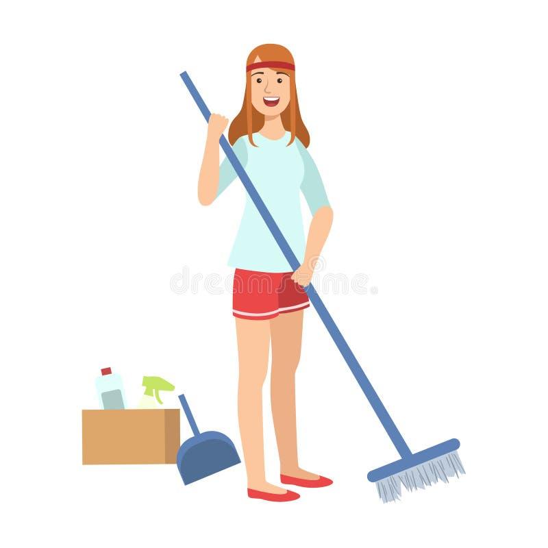 Mulher que varre um assoalho com vassoura, limpar adulto dos caráteres dos desenhos animados e Tiding ilustração do vetor