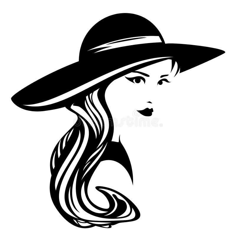 Mulher que veste o projeto largamente brimmed do vetor do chapéu ilustração stock