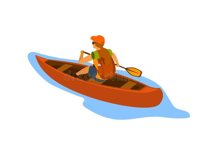 Mulher que viaja com a trouxa que rema a canoa ilustração stock