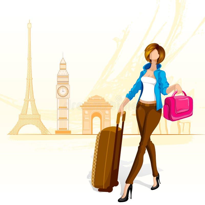 Mulher que viaja em torno do mundo ilustração royalty free