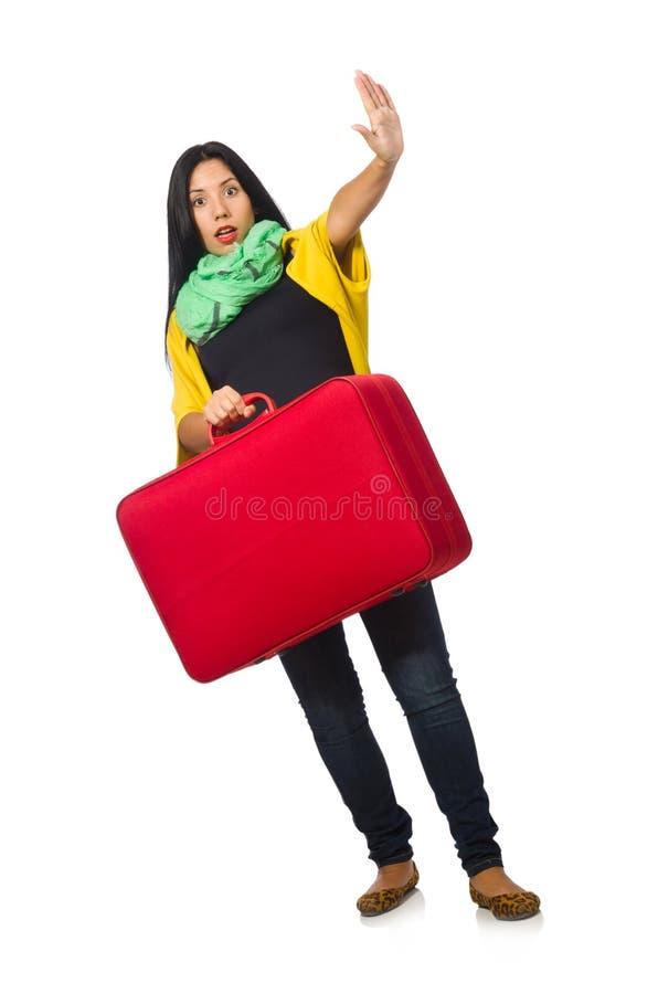 A mulher que viaja no branco imagem de stock