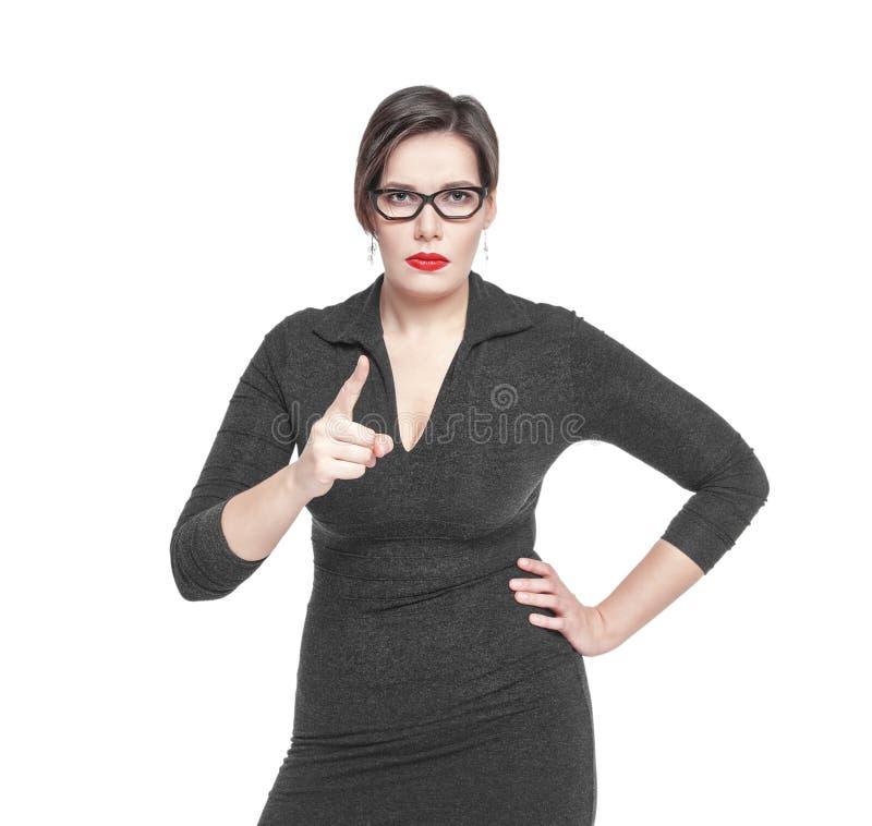 A mulher restrita do professor ameaça pelo dedo isolado fotos de stock royalty free