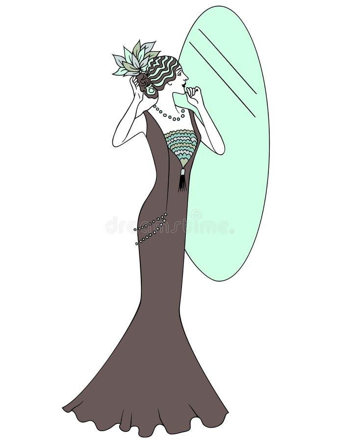 Mulher retro bonita do estilo Ilustração do vetor Copie o espaço A menina do vintage olha no espelho ilustração do vetor