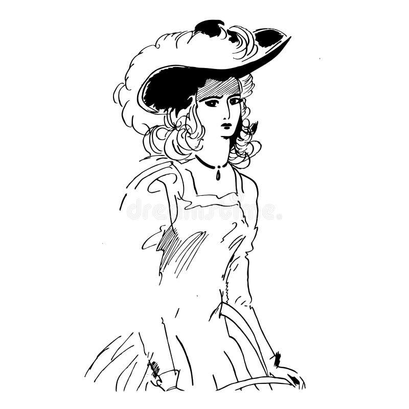 Mulher retro do estilo no chapéu com penas Na ?rvore velha perto da cerca cresceram filiais novas ilustração do vetor