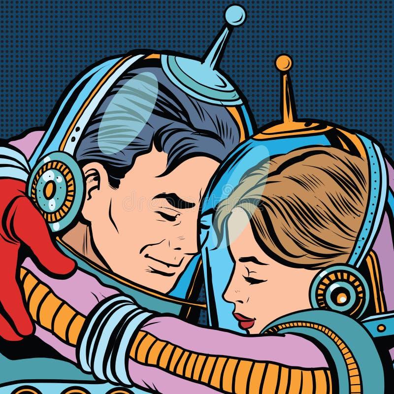 Mulher retro do homem dos astronautas dos pares do amor ilustração stock