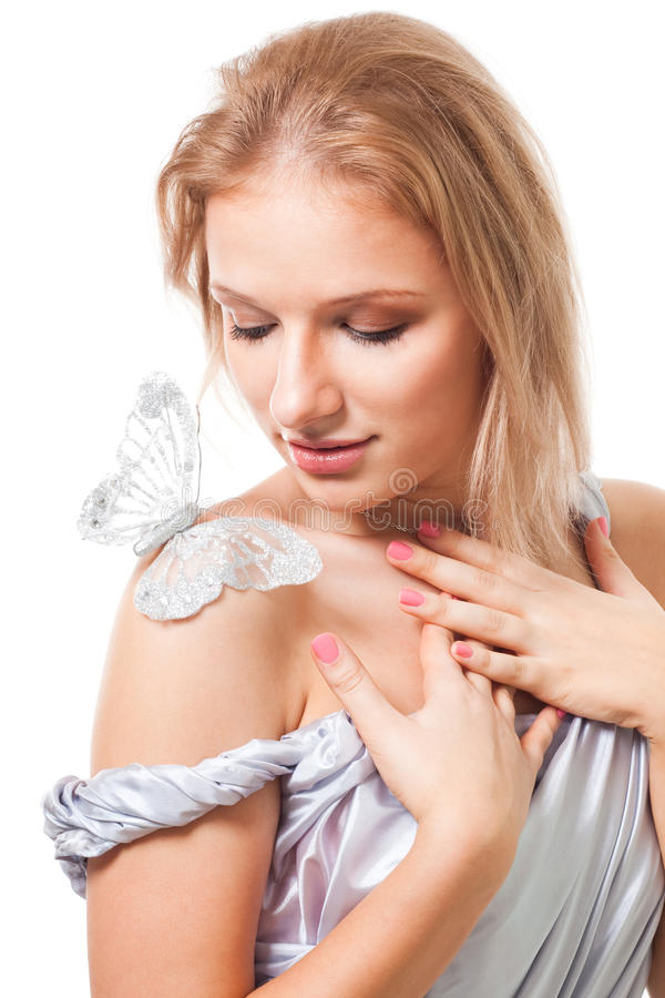 Mulher romântica com borboleta imagem de stock
