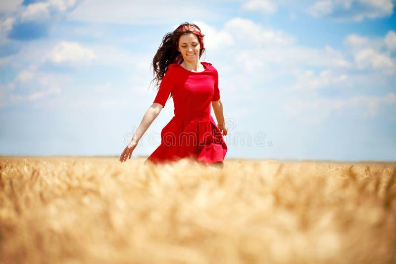 Mulher romântica que funciona através do campo fotos de stock