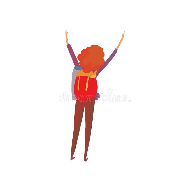 Mulher ruivo com uma trouxa Ilustra??o do vetor no fundo branco ilustração royalty free