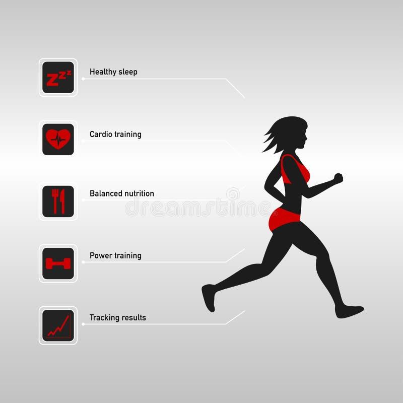 Mulher running e aptidão infographic ilustração royalty free