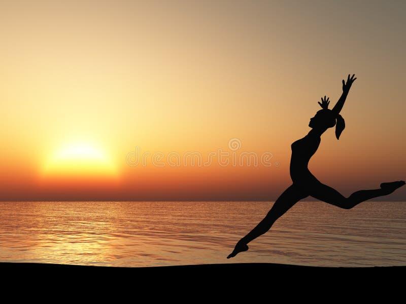 A mulher running na costa do oceano ilustração stock