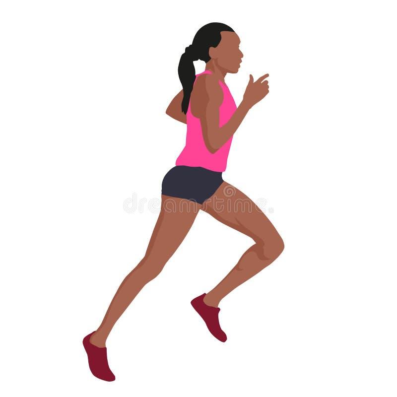 Mulher running no jérsei cor-de-rosa, ilustração do vetor O lado vie ilustração do vetor