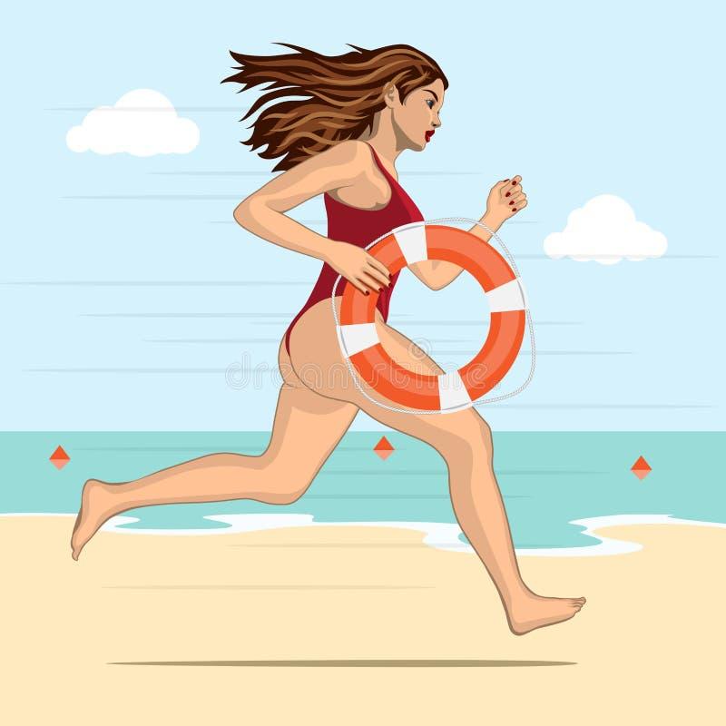 Mulher running - salva-vidas ilustração do vetor