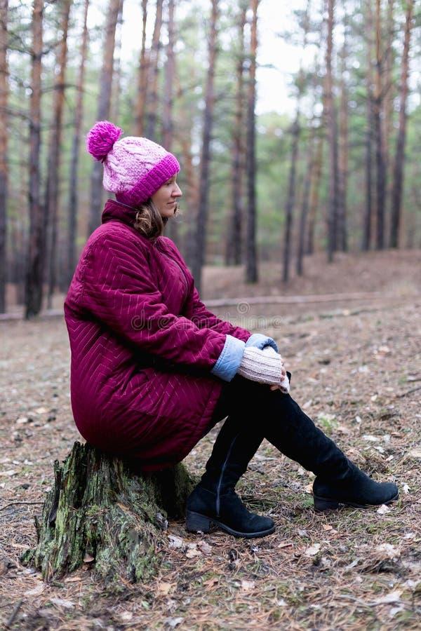 Mulher rural bonito na floresta do outono fotos de stock