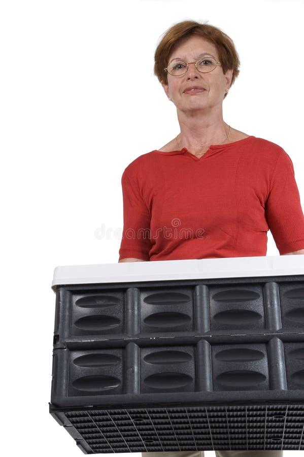 Mulher sênior com caixa da dobra fotografia de stock royalty free