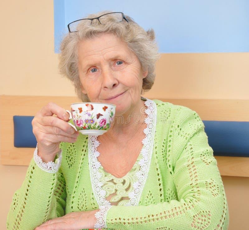 Mulher sênior com o copo do chá foto de stock