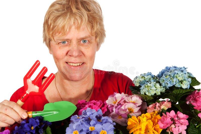 Mulher sênior de jardinagem foto de stock royalty free