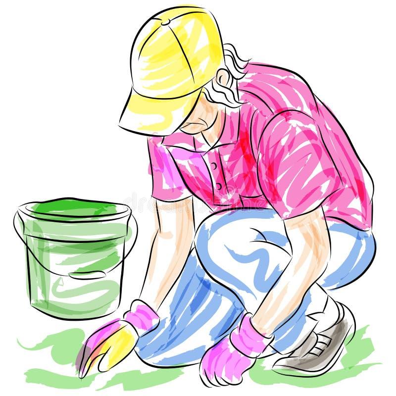 Mulher sênior de jardinagem ilustração stock