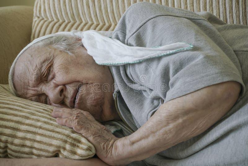 Mulher sênior que dorme no sofá fotografia de stock