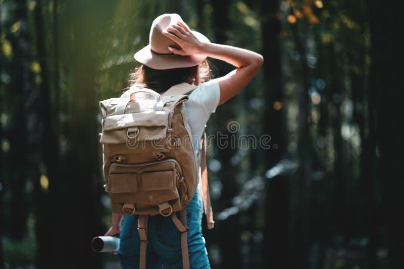 Mulher só que viaja entre a floresta com trouxa Chapéu vestindo do viajante novo e mapa direcional da posse à disposição fotos de stock