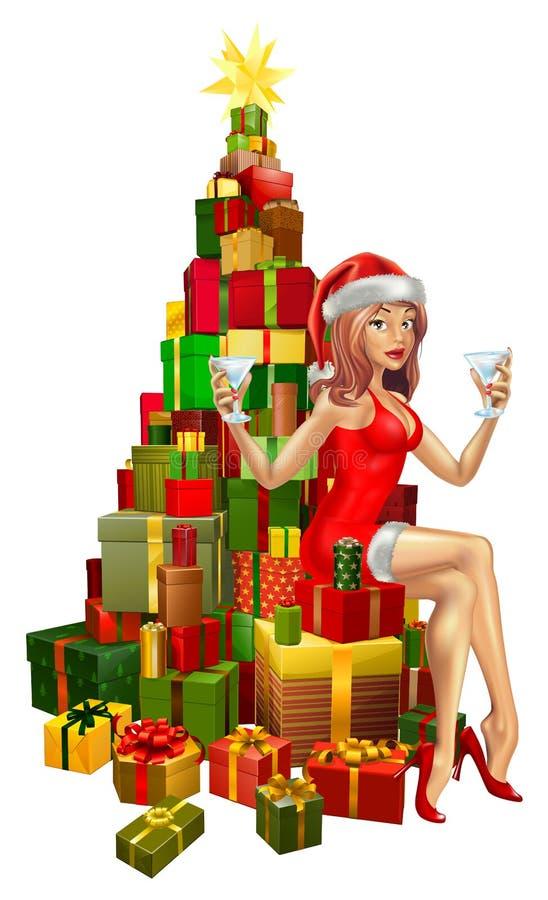 Mulher Santa na pilha de presentes ilustração do vetor