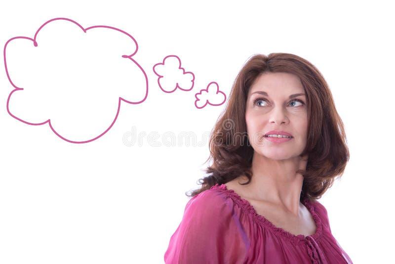 Mulher satisfeita com o balão de discurso isolado. fotos de stock royalty free