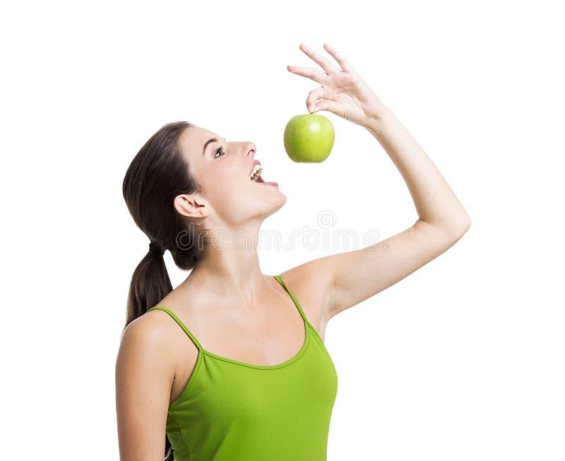 Mulher saudável com maçãs foto de stock