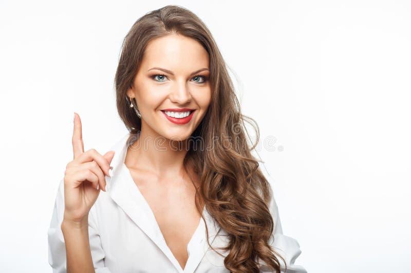 A mulher saudável nova atrativa tem a grande ideia imagens de stock royalty free