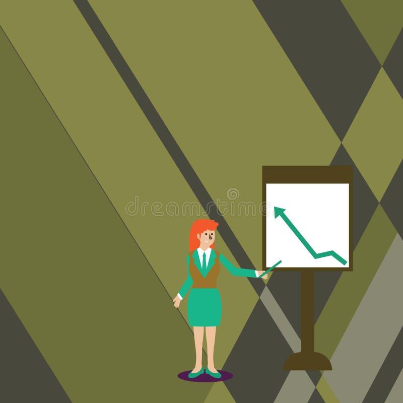Mulher segura na vara da terra arrendada do terno de negócio e apontar para fazer um mapa da seta que vai acima em Whiteboard aut ilustração do vetor