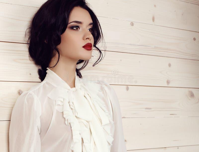 Mulher sensual com cabelo escuro na roupa elegante que levanta no estúdio fotografia de stock