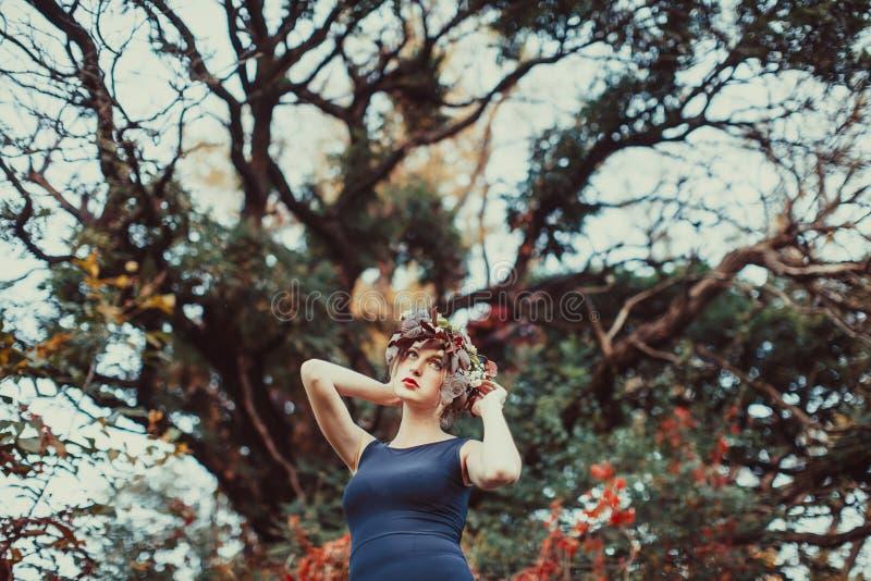 Mulher sensual com queda na árvore do outono imagens de stock royalty free