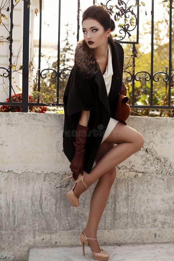 Mulher sensual lindo com cabelo escuro no revestimento luxuoso elegante fotografia de stock royalty free