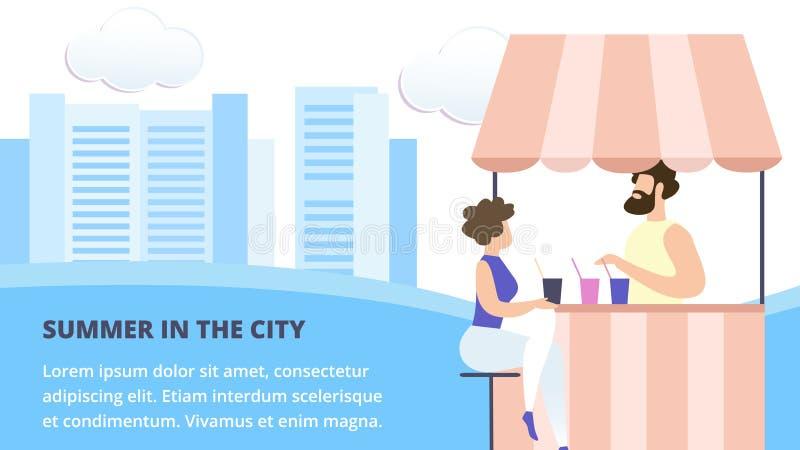 A mulher senta-se na tabela no café ou na cabine da rua do verão ilustração do vetor