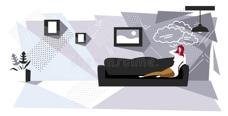 Mulher sentada no sofá falando uma garota do telefone usando o smartphone chat bubble communication conceituando sala de estar mo ilustração royalty free