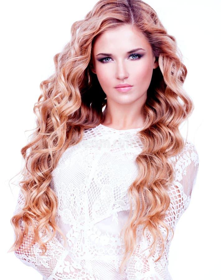 Mulher 'sexy' bonita com cabelo louro longo fotografia de stock