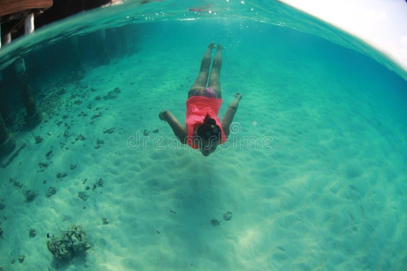 Mulher 'sexy' bonita feliz da senhora em um nadador do vestido foto de stock royalty free