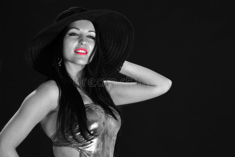 Mulher 'sexy' com bordos vermelhos fotos de stock royalty free