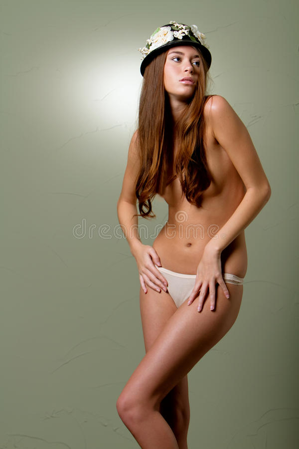 Mulher 'sexy' com cabelo longo foto de stock