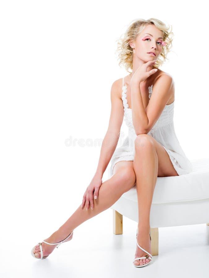 Mulher 'sexy' com pés bonitos imagem de stock