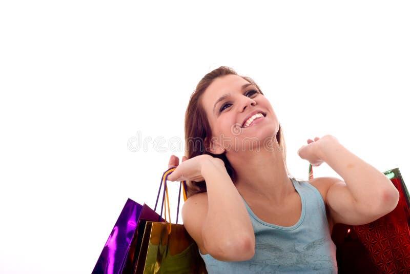 Mulher 'sexy' com sacos shoping imagens de stock
