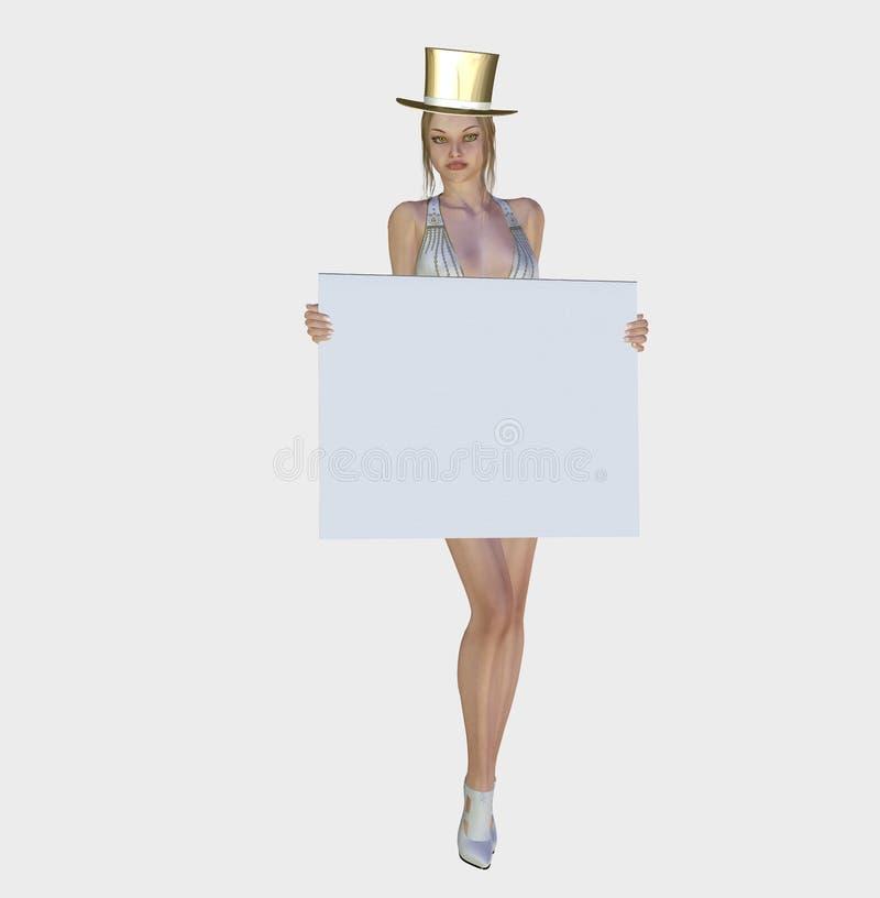 Mulher 'sexy' com uma bandeira em branco ilustração do vetor