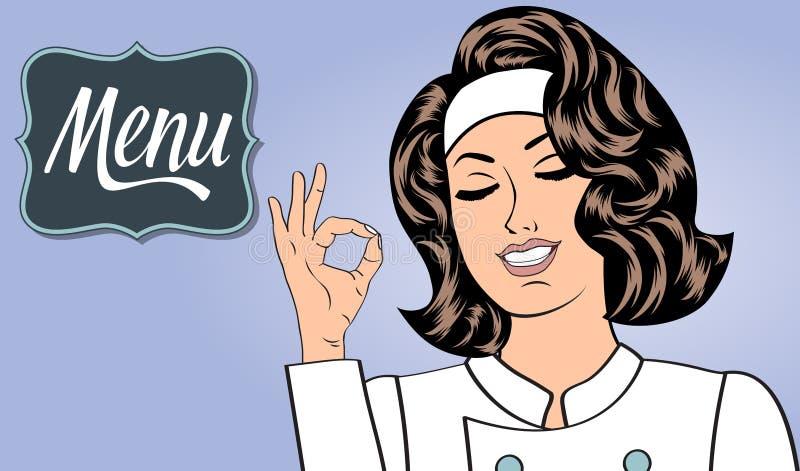 Mulher 'sexy' do cozinheiro chefe no uniforme que gesticula o sinal aprovado com sua mão ilustração stock