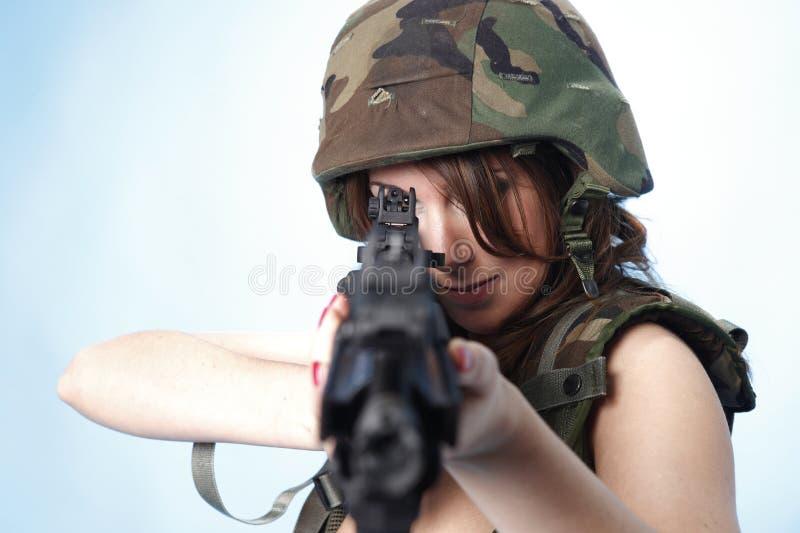 Mulher 'sexy' do exército fotografia de stock